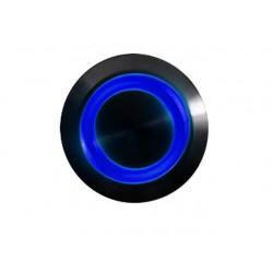 Przycisk 16 mm wandaloodporny niklowany czarny - podświetlanie led niebieskie