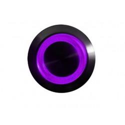 Przycisk 16 mm wandaloodporny niklowany czarny - podświetlanie led fioletowe