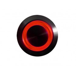 Przycisk 16 mm wandaloodporny niklowany czarny - podświetlanie led czerwone