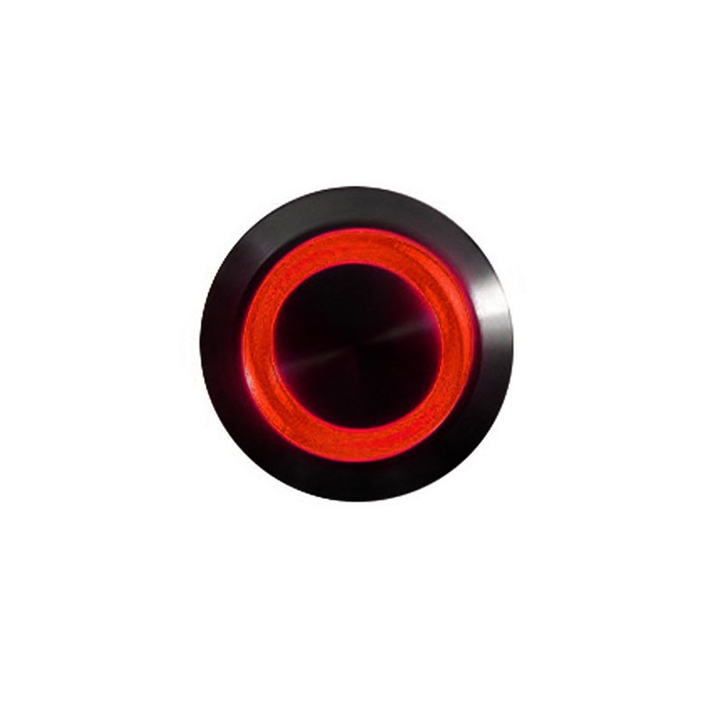 Push-button 16mm vandalism-proof nickel black - lighting led red