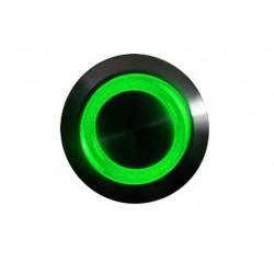 Przycisk 16 mm wandaloodporny niklowany czarny - podświetlanie led zielony