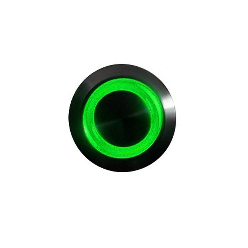 Push-button 16mm vandalism-proof nickel black - lighting led green
