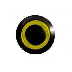 Przycisk 16 mm wandaloodporny niklowany czarny - podświetlanie led zółty